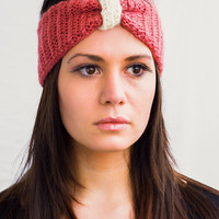 Knotted Headband Crocheted Turban Mohair Ear Warmer in Pink and White