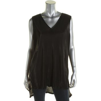 Alfani Womens Semi-Sheer Micro Pleated Tunic Top Black L