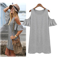 Butterfly Sleeve Dress - Grey