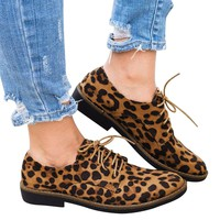 womens loafers Round Toe Leopard Print Ankle Flat Casual Lace Up Single female casual shoes  zapatillas mujer
