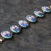 Vintage Painted Porcelain Floral Bracelet Links Panels Oval Porcelain Cabochons Pink Blue Flowers Gold Tone 1960's / Vintage Costume Jewelry