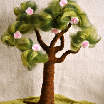 Waldorf inspired needle felted Tree:  Spring and Apple Tree