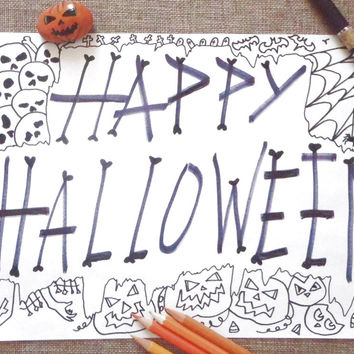 happy halloween coloring page adult jack o lantern skull instant download colouring children diy rainy day printable print lasoffittadiste