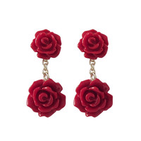 6mm And 8mm Red Rose Flower Dangling, Gold Plated Sterling Silver Post Earrings, 0.79