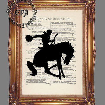 Black Silhouette Rodeo Bronc & Riding Cowboy Art - Beautifully Upcycled Vintage Dictionary Page Book Art Print