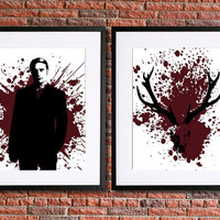 Hannibal Poster Art | Splatter Series | Set of 2 8x10 Instant Download Printables | Antlers and Doctor Hannibal Lecter