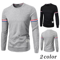 New Korean Style 2015 The New Winter Men's Casual Long-sleeved Round Neck T-shirt High Quality Men's Slim Fit T-shirt M-XXL