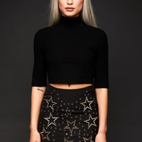 Black Star Studded Mini Skirt