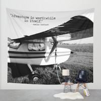 Airplane Tapestry, Adventure Tapestry, Women's History, Amelia Earhart Quote, BW Wall Hanging, Black and White, Plane Tapestry, Wanderlust