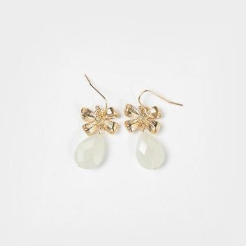 Wendy Ivory Bow Teardrop Earrings