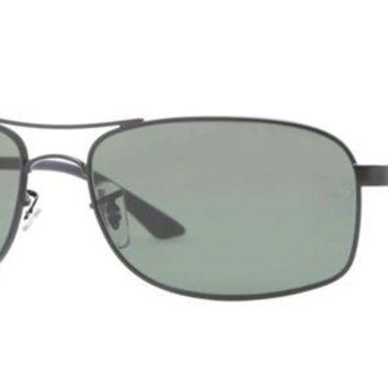 Kalete Authentic RAY-BAN 3484 - W3365 Sunglasses Polarized Green / Black *NEW* 63mm