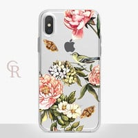 Floral Birds Clear Phone Case For iPhone 8 iPhone 8 Plus iPhone X Phone 7 Plus iPhone 6 iPhone 6S  iPhone SE Samsung S8 iPhone 5