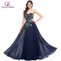 Peacock Dress Grace Karin Purple Evening Dresses 2016 New Arrival Long Party Dress Plus size Formal Evening Gowns robe de soiree