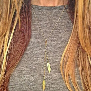 lowest price !!! 2016 new Fashion Gold silver bar Necklace for women European and American fashion simple metal leaves necklace
