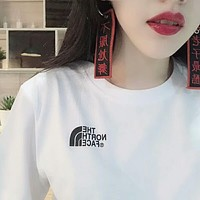 THE NORTH FACE Trending Unisex Loose Print Short Sleeve Round Collar Lovers T-Shirt Pullover Top I-A-ALCLFS