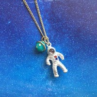 Astronaut Planet Necklace sold by Moooh!!