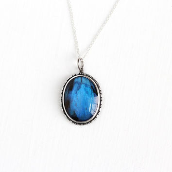 Vintage Sterling Silver Blue Morpho Butterfly Wing English Necklace - Art Deco 1930s Oval Iridescent Pendant on Silver Chain England Jewelry