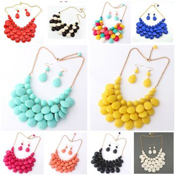 Women's Multicolored Acrylic Water Drop Statement Bib Necklace & Earring Set.    Available In A Huge Amount of Colors.    ***FREE SHIPPING***