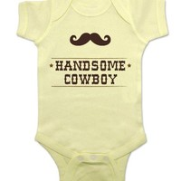 Handsome Cowboy with a Mustache - cute baby one piece infant clothing (6 Months, Banana)