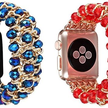 Crystal Beaded Stretch Elastic Apple Watch Band for 1,2,3