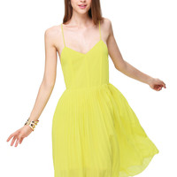 Neon Yellow Spaghetti Strap Backless Pleated Dress