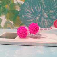 Bright Hot Pink Dahlia Flower Earbuds with Swarovski Crystals