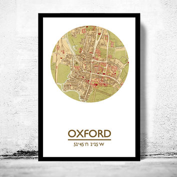 OXFORD - city poster  - city map poster print