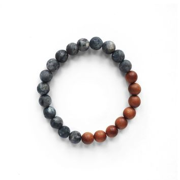 Black Labradorite and Sandalwood Gemstone Bracelet