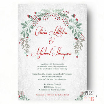 Wreath Wedding Invitation Printable - Christmas Wedding Invitation - Floral Wreath - Floral Wedding Invitation - Floral Wedding Invites