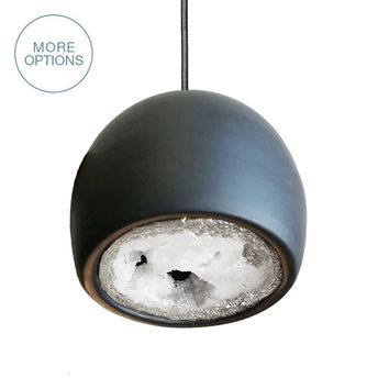 LED Geode Leafed Gem & Porcelain Mini Matte Black Clay Pendant Light