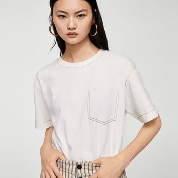 Contrast seam t-shirt - Women | MANGO USA