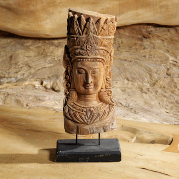 Unique Buddha Sculpture Hand Carved from Freeform Wood | Wooden Boudha Statue