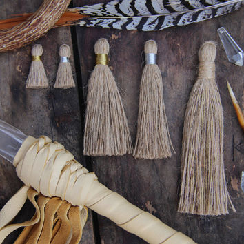 Natural Jute Shabby Handmade Tassels, Silver and Gold Binding, Assorted Sizes, Designer Quality, Rustic Jewelry Making, Charm, Supply