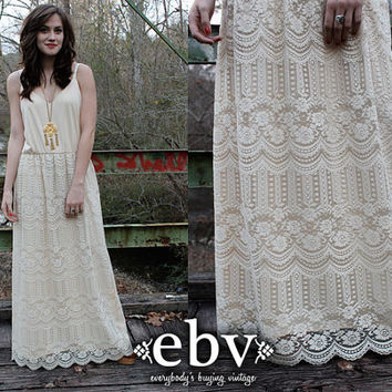 Vintage 70's Cream Lace Scalloped Boho Hippie Wedding Maxi Dress L XL
