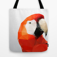 Geo - Parrot red Tote Bag by Three of the Possessed