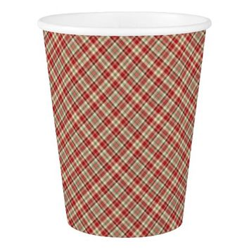 Christmas Plaid 19-PAPER CUPS