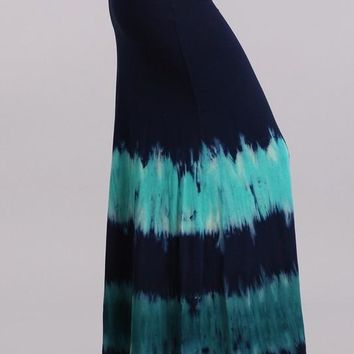 Navy Teal Tie Dye Maxi Skirt