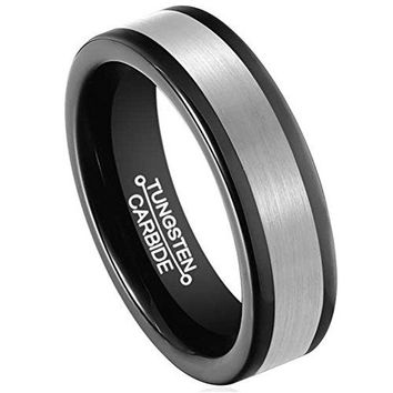 6mm Black Tungsten Carbide Ring Silver Center Matte Finish Wedding Engagement Band Polished Edges (Platinum)