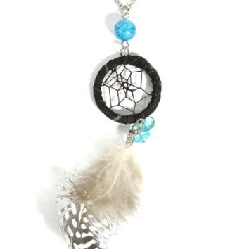 Dreamcatcher Feather Necklace Black Beaded Silver Chain NL05 Native American Style Boho