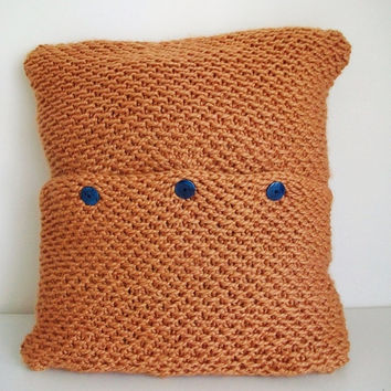 Knitting Pattern Orange Pillow Cover 24x24  PDF Digital Download Knitted Pillow Cover Retro Mode