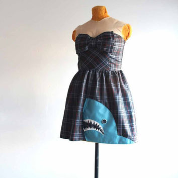 plaid party dress with an applique shark - small / medium prom dress - retro rocker party frock - make every week shark week