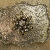 Silver Rhinestone Belt Buckle, Gold Flower, Western Womens Southwestern Engraved Etched Buckle, Flower Belt,