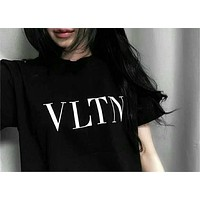 "Valentino Trending Women Men Casual ""VLTN"" Letter Print Short Sleeve Pullover Top T-Shirt Black I-CR-CP-WM-YD"