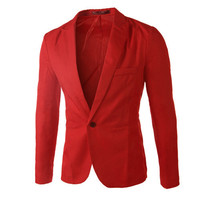 Casual Men's Suit Hooded One Button Men Red Blazer # W102