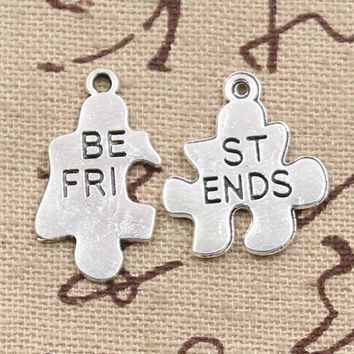 Best Friend Jewelry - BFF - Friendship - Jigsaw Puzzle Charms Bracelet and Necklace Pendants