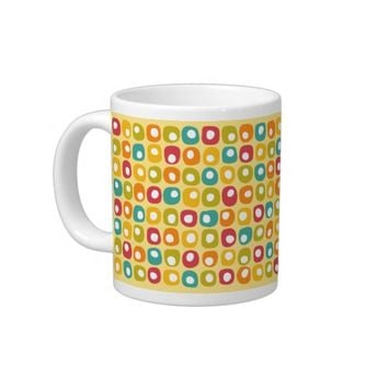 Bright retro square dots pattern red teal yellow giant coffee mug