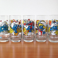 Vintage Set of Five SMURF Glassware Tumblers, Cartoon Character Drinking Glasses