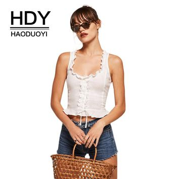 HDY Haoduoyi Fashion White Bow Women Tank Sleeveless Bralette Cami Ruffle Bodycon Crop Top Female Casual Slim Tank Tops Sweet