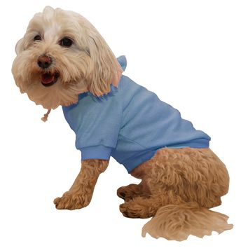 French Terry Pet Pet Hoodie Hooded Sweater  - Teal Blue: X-Small