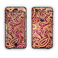 The Gold and Red Paisley Pattern Apple iPhone 6 Plus LifeProof Nuud Case Skin Set